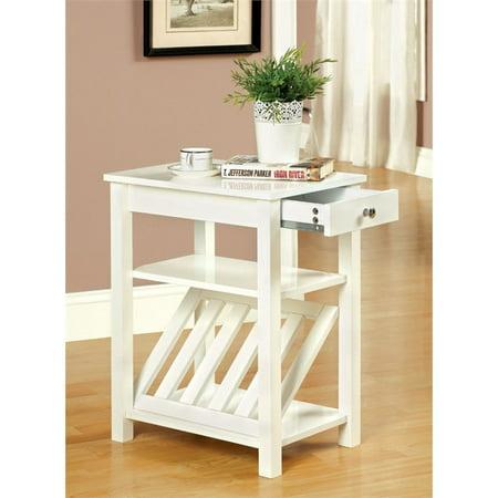 Furniture Of America Stockton Magazine Rack End Table In White