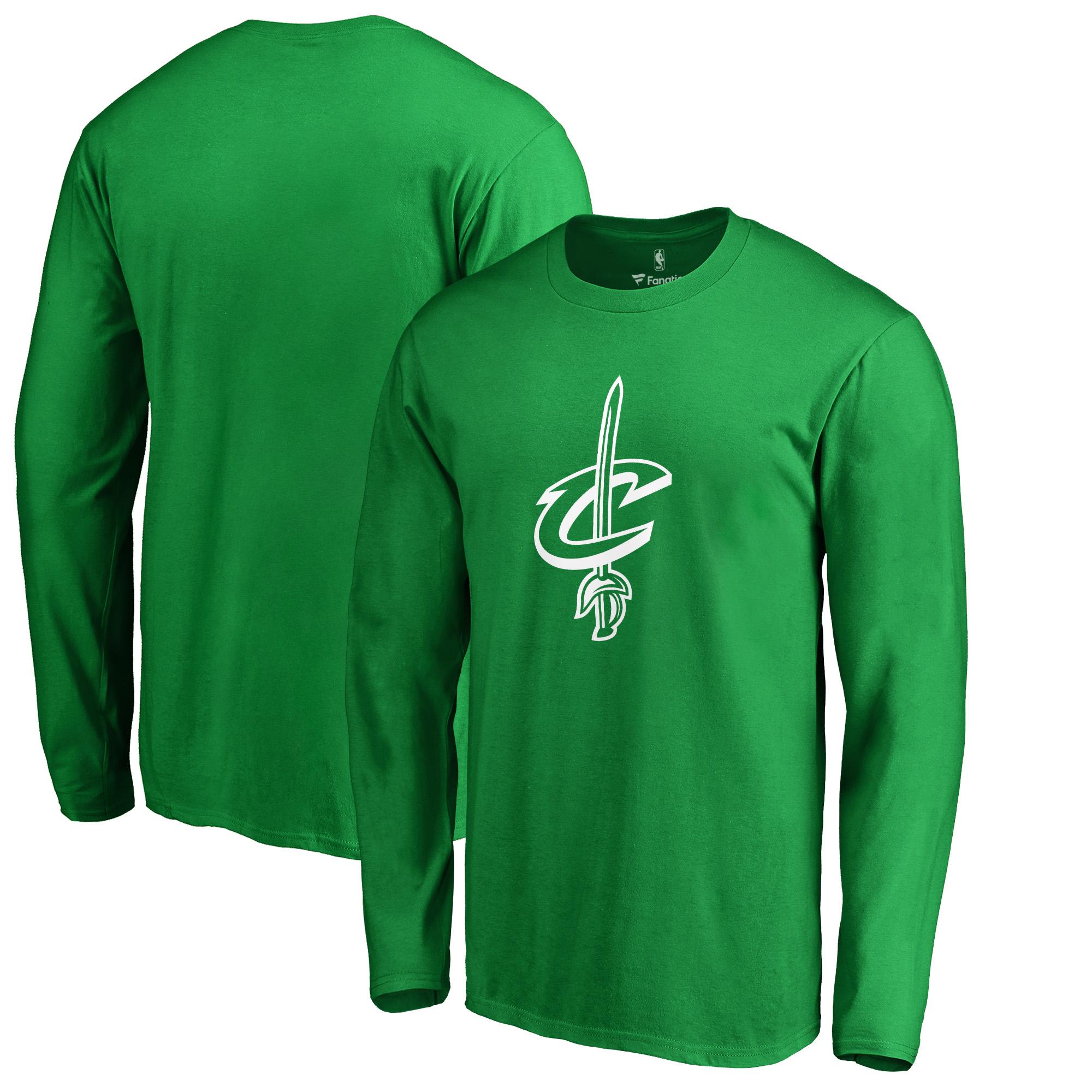 Cleveland Cavaliers Fanatics Branded St. Patrick's Day White Logo Long Sleeve T-Shirt - Kelly Green