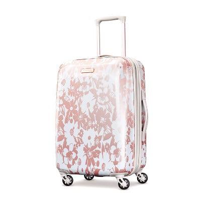 "American Tourister 22"" Arabella Hardside Carry On Spinner Suitcase - Floral Rose Gold"