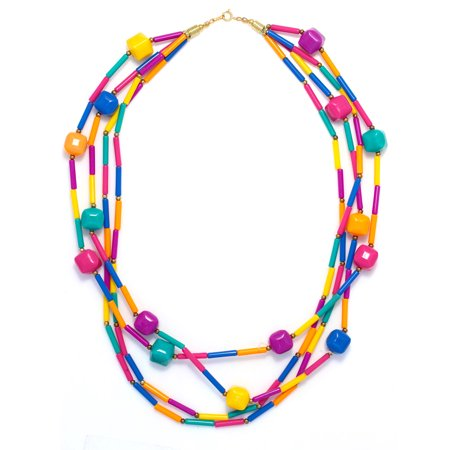TAZZA WOMEN'S VINTAGE  MULTI STRAND GENUINE LUCITE PASTEL COLORS LONG BEADS (Genuine Multi Strand)