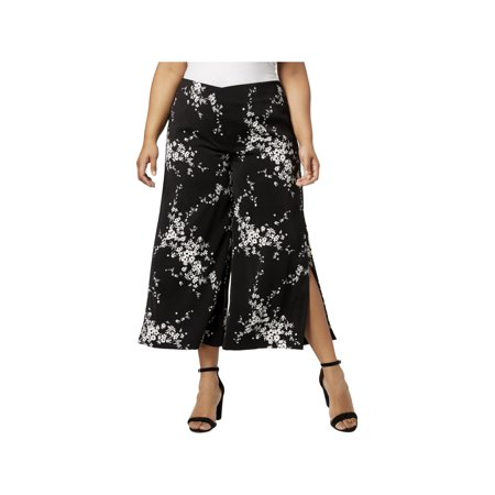 NY Collection Womens Plus Floral Print Mid-Rise - Printed Culottes