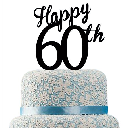 Buythrow Happy 60th Birthday Cake Topper60th Anniversary Decoration