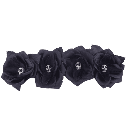 Lux Accessories Black Gothic Skull Skeleton Head Halloween Flower Crown Headband