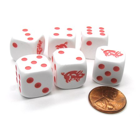 White Pig - Koplow Games Set of 6 Pig 16mm D6 Round Edged Animal Dice - White with Pink Pips #00514