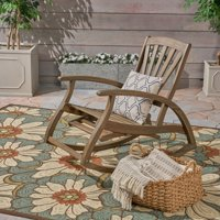 Kaya Outdoor Acacia Wood Rocking Chair with Footrest, Gray