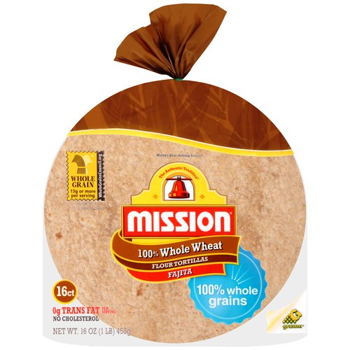 Mission 100% Whole Wheat Flour Fajita Tortillas, 16 ct
