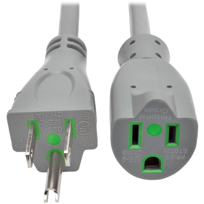 TRIPP LITE P022-015-GY-HG 15FT HOSPITAL MEDICAL POWER EXTENSION CORD 5-15P 5-15R 13A GRAY