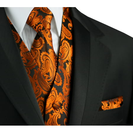 Italian Design, Men's Formal Tuxedo Vest, Tie & Hankie Set for Prom, Wedding, Cruise in Burnt Orange (Mens Complete Tuxedo Shirt Tie)