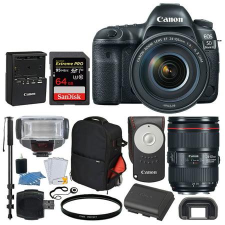 Canon EOS 5D Mark IV DSLR Camera + EF 24-105mm f/4L IS II USM Lens + SanDisk Extreme Pro 64GB Memory Card + Canon RC-6 Remote + Vivitar Series 1 Trolley Backpack + TTL Flash + Monopod – Valued