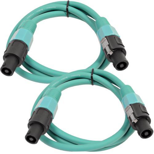 Seismic Audio  Pair of 12 Gauge 5' Green Speakon to Speakon Speaker Cables Green - TW12S5Green-Pair