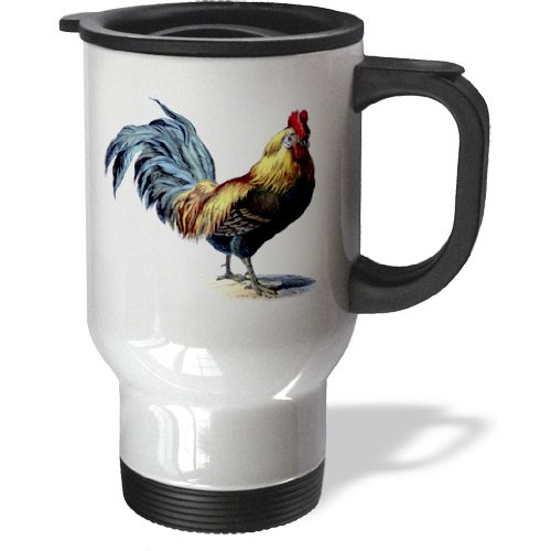 3dRose Blue Yellow Red Victorian Rooster, Travel Mug, 14oz, Stainless Steel