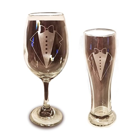 Laser Engraved LGBTQ Groom and Groom Glasses - 20 oz Wine Glass and 15 oz Beer Pilsner Glass - Wedding Toasting Set of 2 - Couples Gifts - Engagement Gift - Original Wedding Gifts - Custom Wedding (Beer Koozies Custom)