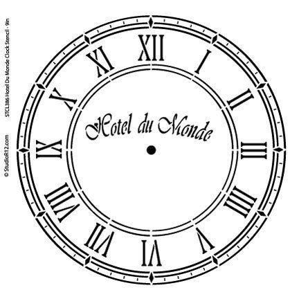 Hotel Du Monde Clock Stencil by StudioR12 | French Clock Face Art - Medium 10 x 10-inch Reusable Mylar Template | Painting, Chalk, Mixed Media | Use for Crafting, DIY Home Decor - STCL386 - Clock Craft