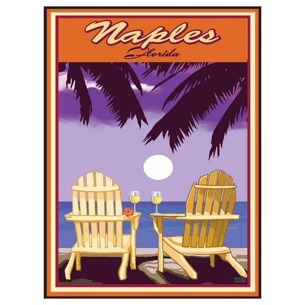 Naples Florida Adirondack Chairs Palms White Wine Giclee ...