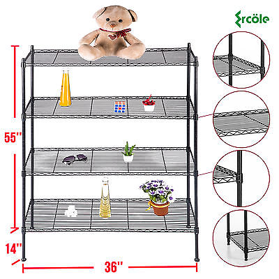"4 Tier Heavy Duty 55""x36""x14"" Layer Wire Shelving Rack Steel Shelf Adjustable"
