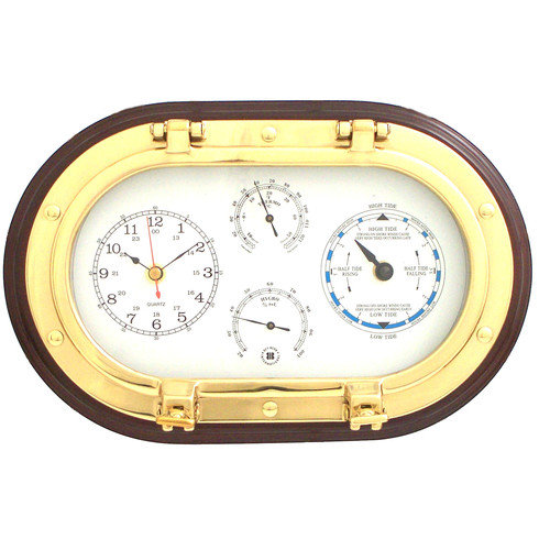 Bey-Berk 12'' Porthole Wall Clock,Tide Clock,Thermometer, and Hygrometer