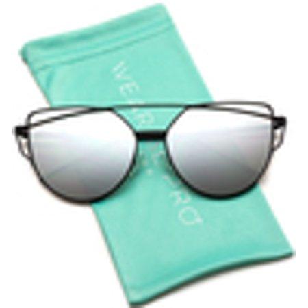 6812e86fe4 WearMe Pro - WearMe Pro - Elegant Street Fashion Metal Frame Women Mirror  Cat Eye Sunglasses - Walmart.com
