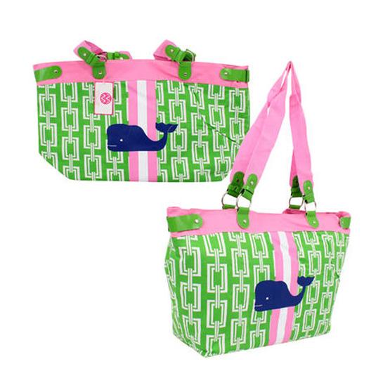 Pink & Green jumbo Beach Bag Tote with Blue Whale - Walmart.com