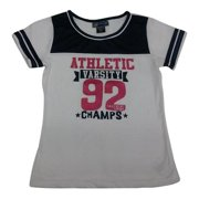 "Girls White ""Athletic Varsity"" Stripe Short Sleeve T-Shirt 7-16"