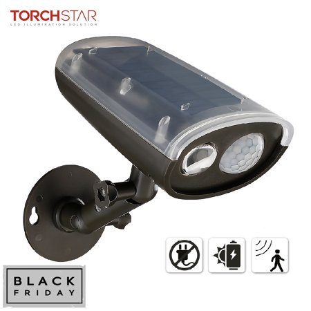 TORCHSTAR LED Solar Powered Outdoor Security Light with Motion Sensor, Waterproof Wireless Solar Wall Lights ()