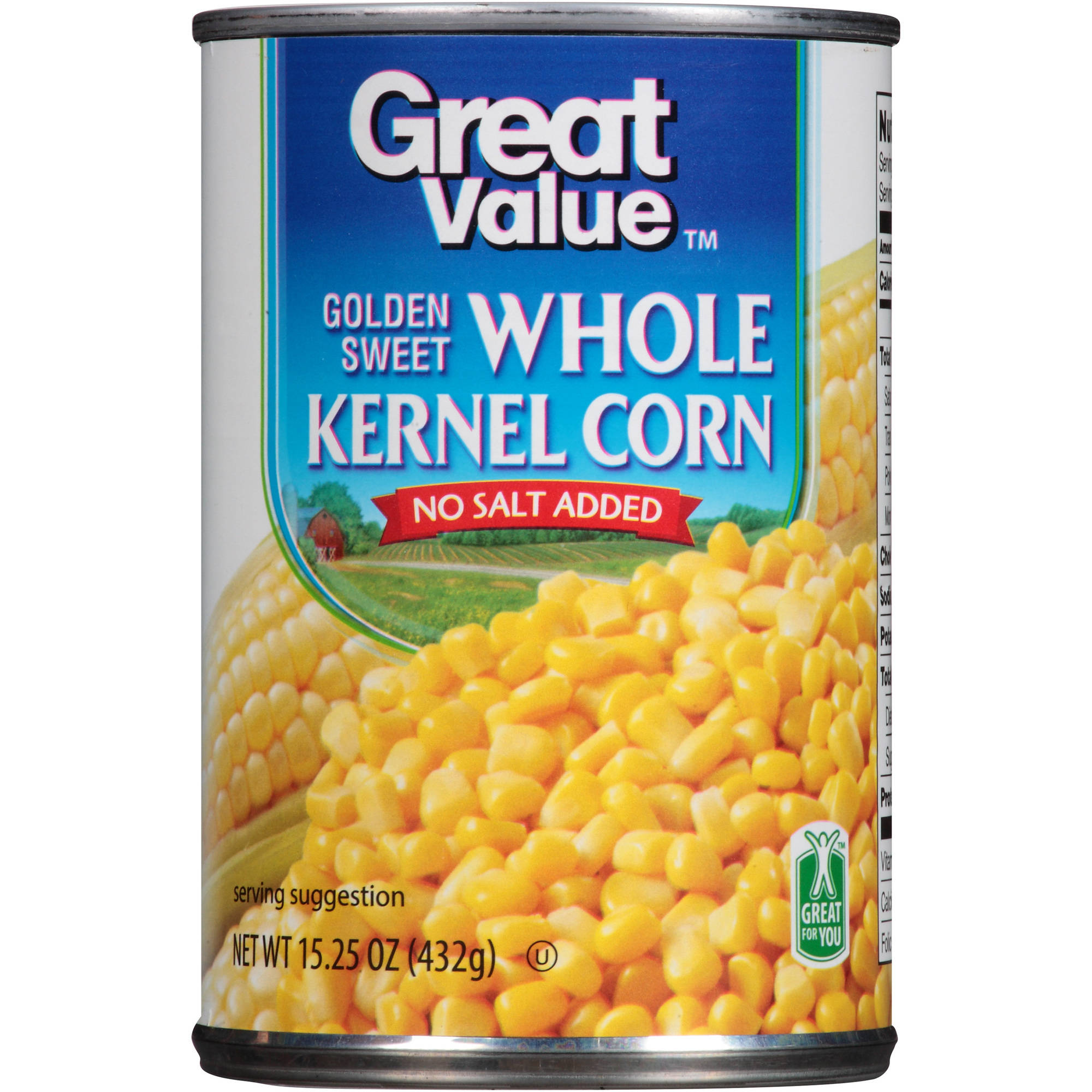 Great Value: Golden Sweet Whole Kernel No Salt Added Corn, 15.25 oz