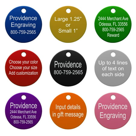 pet id tags up to 8 lines of custom engraving round orange