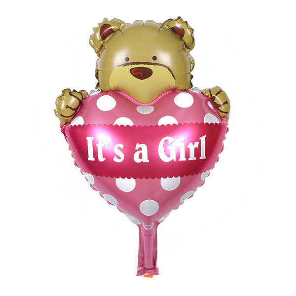 It's a Gilr Foil Mylar Balloons Cute Heart Hug Bear Balloon for Baby Shower Birthday Party Decoration (Pink)