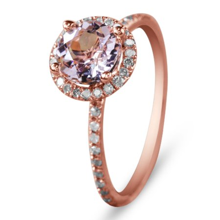 1.75 Carat Peach Pink Morganite (Round cut Morganite) and Diamond Halo Engagement Ring in 14k Rose