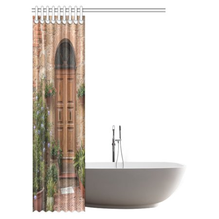 POP Tuscan Decor Shower Curtain, Medieval Facade Italian Rustic Wooden Door Brick Wall in Small Village Bathroom Shower Curtain 48x72 inch - image 1 of 2