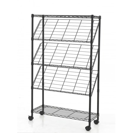 Black 4-Tier Magazine Show Rack Trade Show Literature