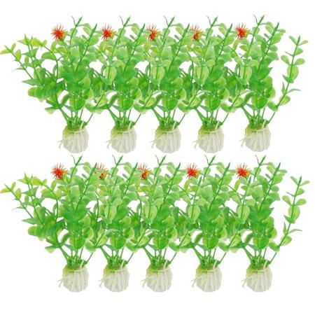 Fish Tank Ceramic Base 4.1 High Green Emulational Water Plant Grass 10 Pcs - image 1 de 1