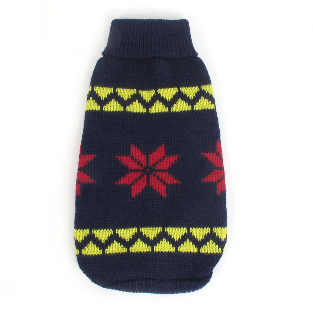 Unique Bargains Winter Turtleneck Snowflake Pattern Pet Dog Clothes Sweater Dark Blue XS