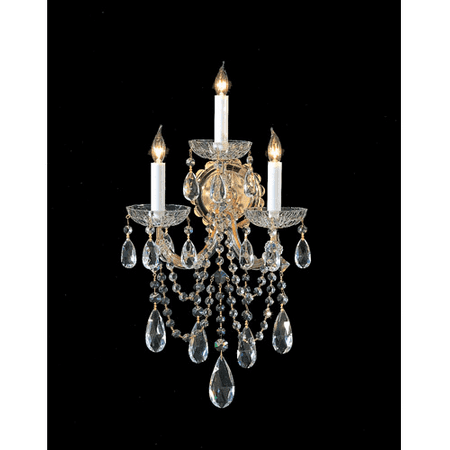 - Wall Sconces 3 Light With Gold Clear Swarovski Strass Crystal Glass Candelabra 11 inch 180 Watts - World of Lighting