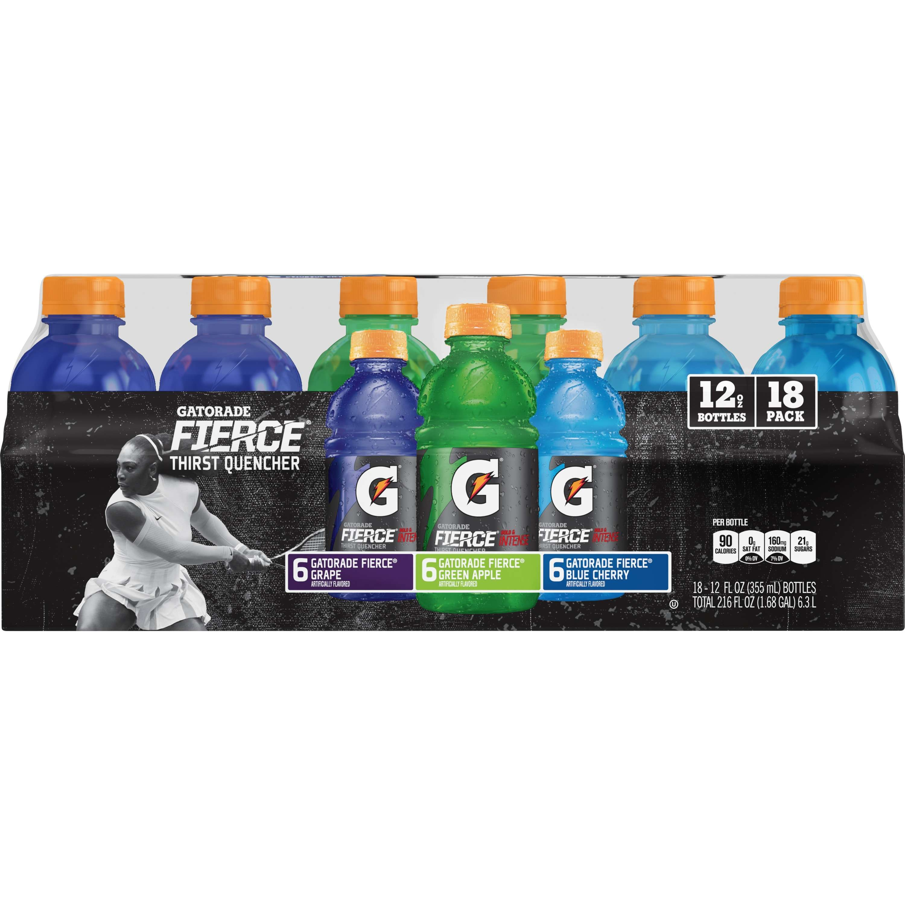 Gatorade Thirst Quencher Fierce Sports Drink, Variety Pack, 12 Fl Oz, 18 Ct