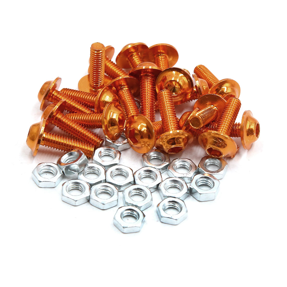 20pcs M6 Orange Aluminum Alloy Hex Socket Head Motorcycle Bolts Screws Nuts