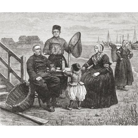 19th Century Urn - A Family From Urk Flevoland The Netherlands In The 19Th Century When Urk Was Still An Island From Pictures From Holland By Richard Lovett Published 1887 Canvas Art - Ken Welsh  Design Pics (17 x 14)