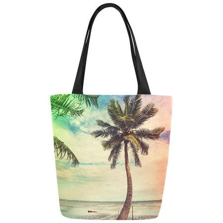 ASHLEIGH Ocean Beach Palm Tree Canvas Tote Bag Shoulder Handbag for Women Girls