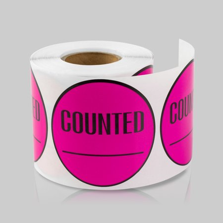 Round counted stickers 2 inch 300 stickers per roll pink 10 rolls