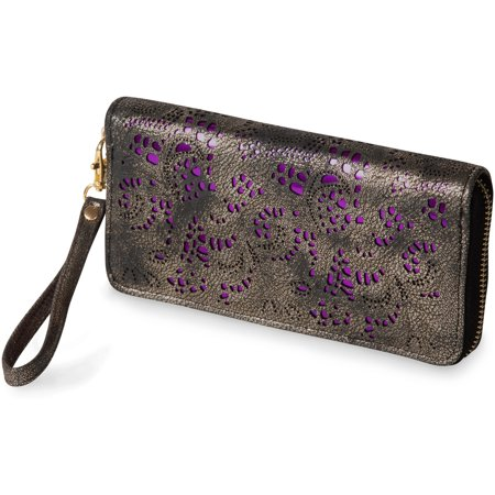 "Pavilion- 7.5"" x 3.75"" Gray Metallic Floral Laser Cut Wristlet Wallet with Purple Backdrop"