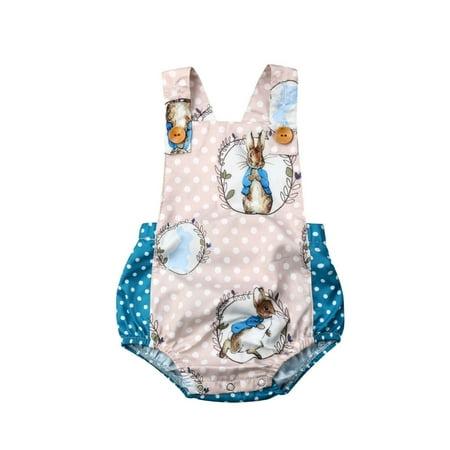 Multitrust Newborn Boys Girls Easter Bunny Romper Bodysuit Jumpsuit Outfit Set 100% Cotton Bodysuit Set