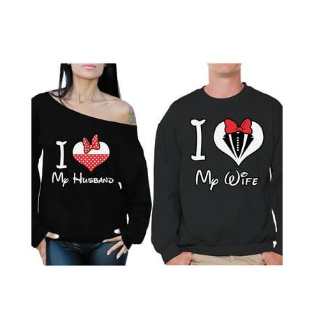 Awkward Styles Couple Sweatshirts for Husband and Wife I Love My Husband I Love My Wife Sweaters for Couples Best Husband Sweater Best Wife Off the Shoulder Sweatshirt Valentines Day Anniversary