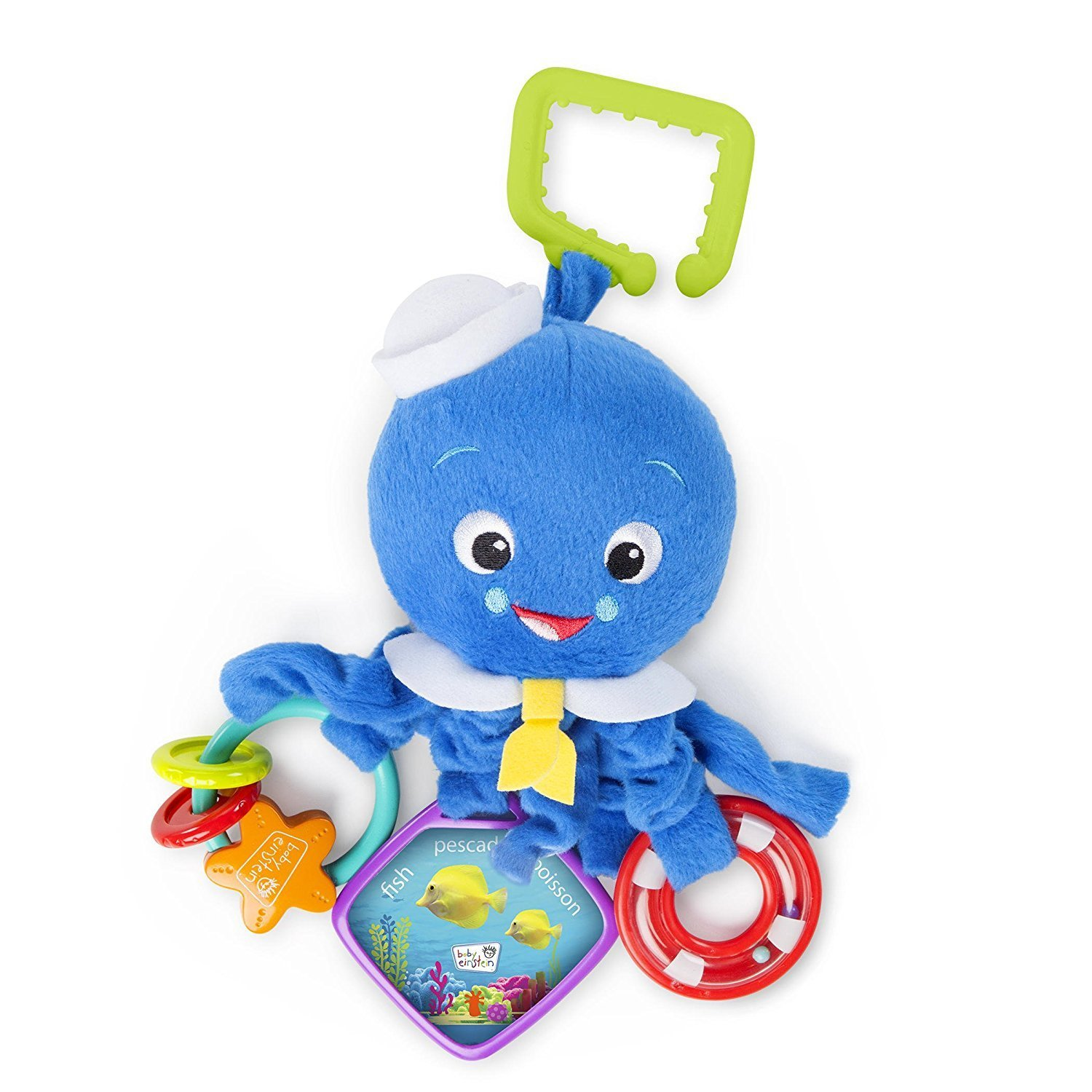 Soft, Multiple Activities Arms Octopus Plush Toy, Features ring rattle and starfish bead... by