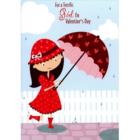 Holding Umbrella (Designer Greetings Girl Holding Umbrella with Hearts: Young Girl Juvenile Valentine's Day)