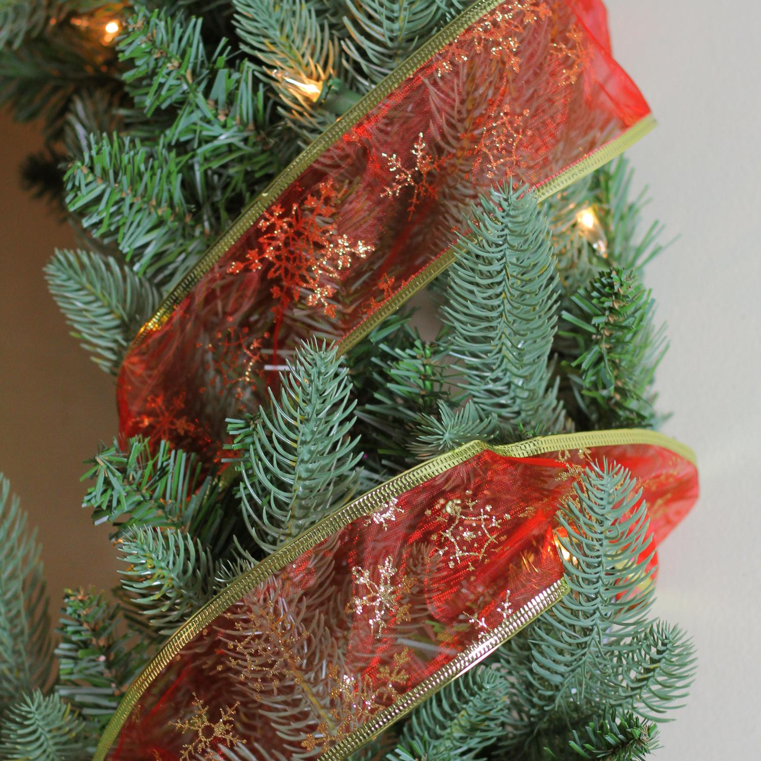 Red & Gold Snowflakes Wired Christmas Craft Ribbon