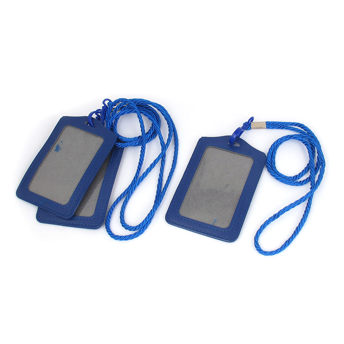 Unique Bargains 3 Pcs ID Card Holder Lanyard School Office Bank Students Stationery Blue w Neck Strap