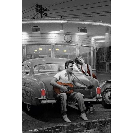 Legendary Crossroads With Marilyn Monroe And Elvis Presley By Chris Consani 36X24 Art Print Poster   Celebrity Movie Stars Romance Playing Guitar Diner