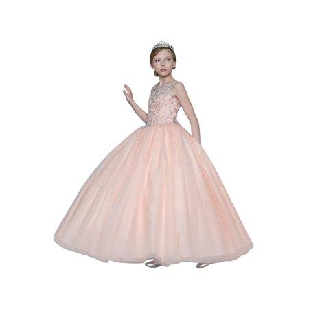 Girls Blush Pink Jeweled Bodice Embroidered Junior Bridesmaid Dress