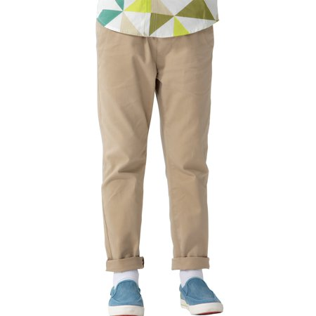 Boys Navy Linen Trousers (Leo&Lily Boys' Kids' 100% Cotton Twill Elastic Waist Regular Fit Pants)