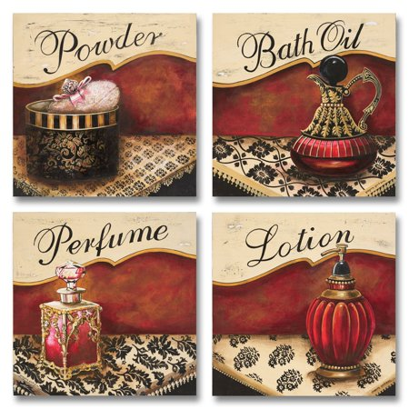 - 4 Lovely Vintage Red and Gold Perfume, Bath Oil, Lotion and Powder Paper Signs; Four 12x12in Paper Posters (Printed On Paper, Not Wood, Meant to Have a Distressed/Worn Look),