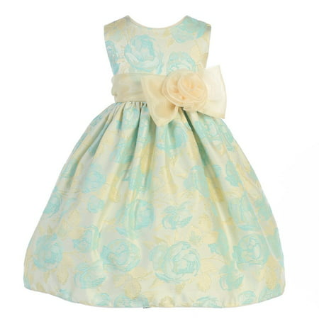 Crayon Kids Little Girls Turquoise Flocked Flower Adorned...